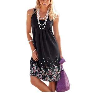 Summer Casual Sleeveless Mini Printed Vest Dresses